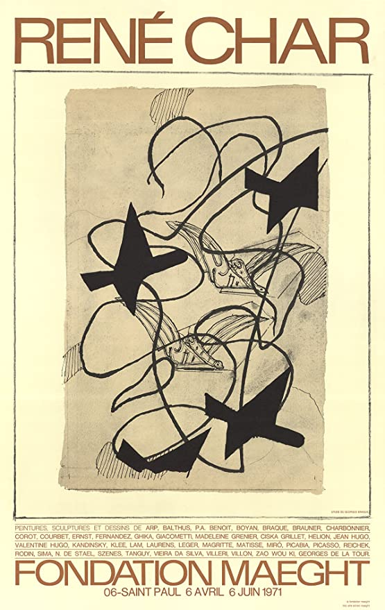"""GEORGES BRAQUE Rene Char 31/"""" x 20/"""" Poster 1971 Cubism Brown"""