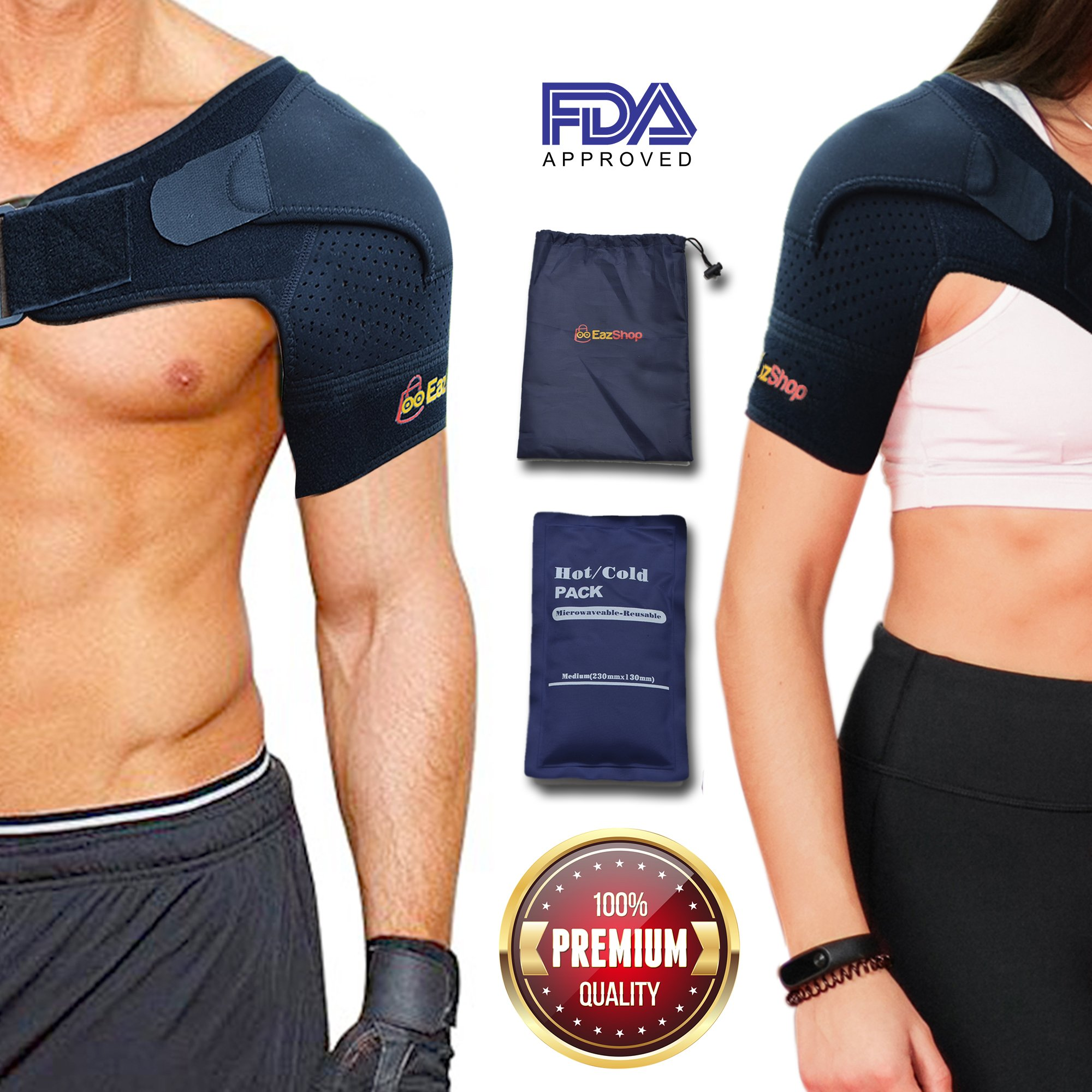 Adjustable Shoulder Brace With Pressure Pads for Men & Women + Hot Cold Reusable Pack + Bag | Compression Strap Sleeve, Neoprene Support for Rotator Cuff, Dislocated AC Joint, Frozen Pain, Tendinitis
