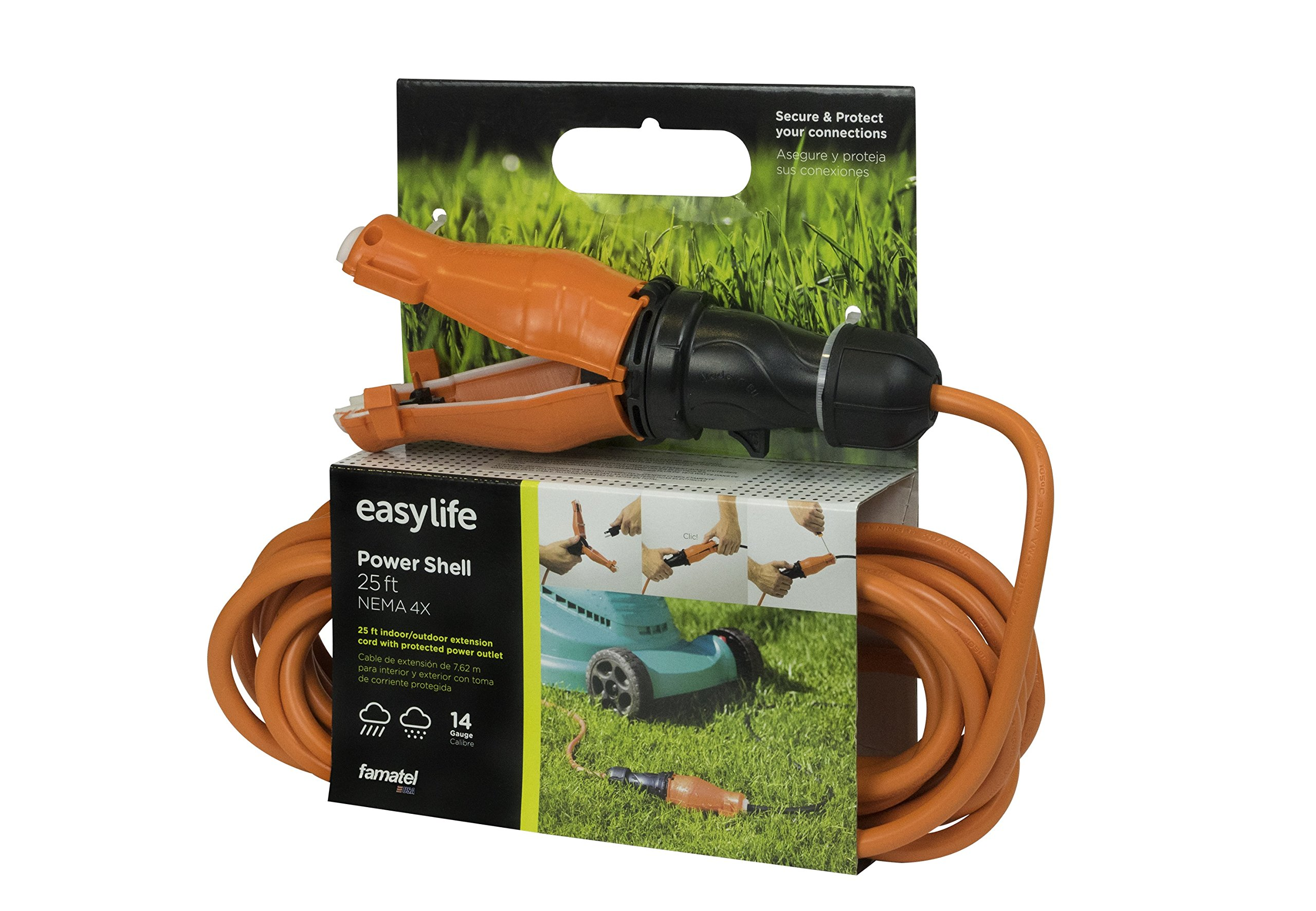 25 ft Extension Cord with Connector Safety Seal Protector Weatherproof - 14/3 Gauge - Rated for Outdoors - ETL Listed