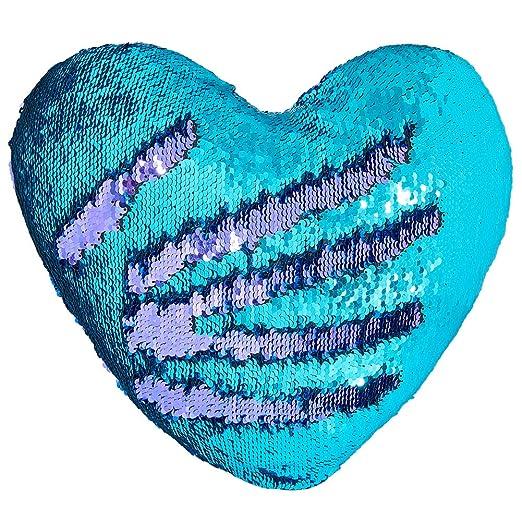 Cojín Mágico, Play Tailor Cojín Corazón Lentejuela Pillow Glitter Almohada Sirena Dos Colores Reversible Cojín Decorativo 35x40cm (Turquesa w/luz ...