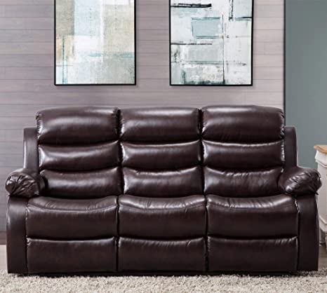 Excellent Harper Bright Designs Classic Bonded Leather Sectional Recliner Sofa 3 Seat Sofa Recliner Dailytribune Chair Design For Home Dailytribuneorg