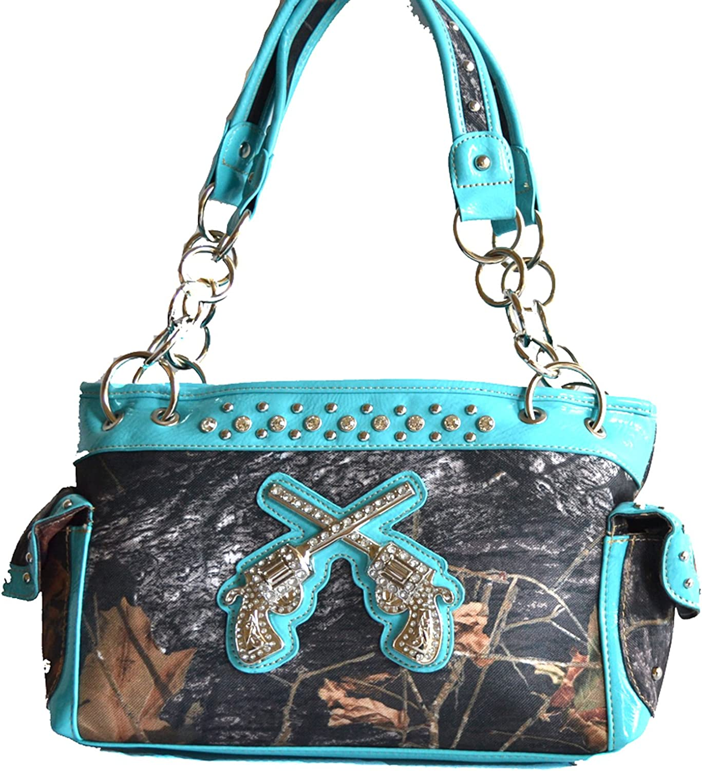 ORANGE RHINESTONE MOSSY CAMO LOOK PISTOLS SHOULDER HANDBAG GUN WESTERN PURSE