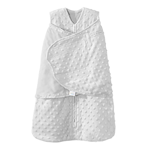 HALO SleepSack Plush Dot Velboa Swaddle Newborn Silver