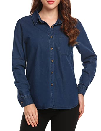 SummerRio Women Long Sleeves Chambray Button-Down Pocket Blue Denim ... fb4799bc2
