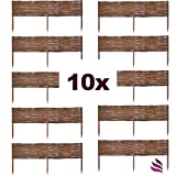 Floranica 10 X Weide Beeteinfassung, Steckzaun in 25 Größen, Rasenkante, Weidenzaun - imprägniert mit Buchepflöcke für leichtes Einsetzen, Länge:100 cm, Höhe:40 cm