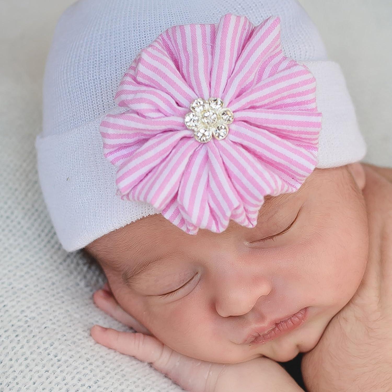 Melondipity Seersucker Pink and White Striped Flower Newborn Girl Hospital Hat