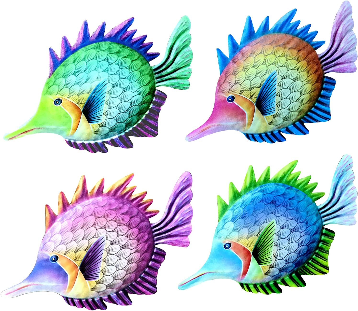 Metal Fish Wall Decor, Set of 4 Metal Fish Outdoor Wall Art Sea Life Art Metal Wall Sculpture Hanging Decor for Pool,Colorful Cute Metal Fish Statues for Porch Fence Garden Decor, Bedroom, Living Room