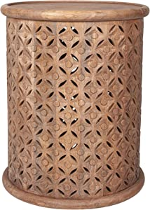 East at Main Gerlind Solid Wood Drum End Table, Sand