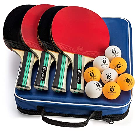 Ping Pong Paddle Set of 4 Paddles and 8 Balls by Scandi Spin - Blue Portable