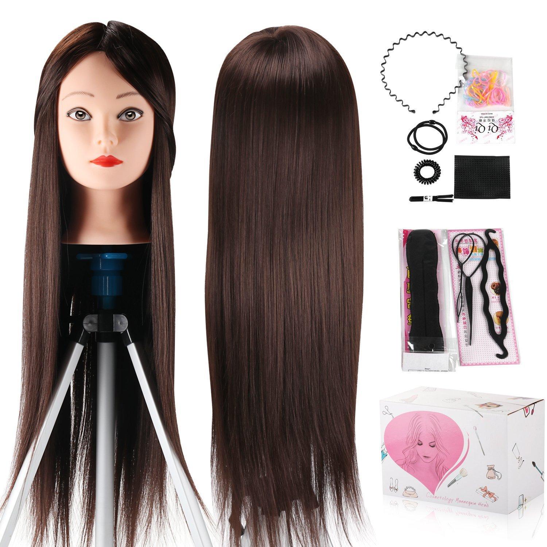 Têtes d'exercice, Doris Direct 60 cm Cheveux à haute température Mannequin Mannequin de Formation de coiffure de cheveux synthétiques avec pince de support et cadeaux Têtes d' exercice