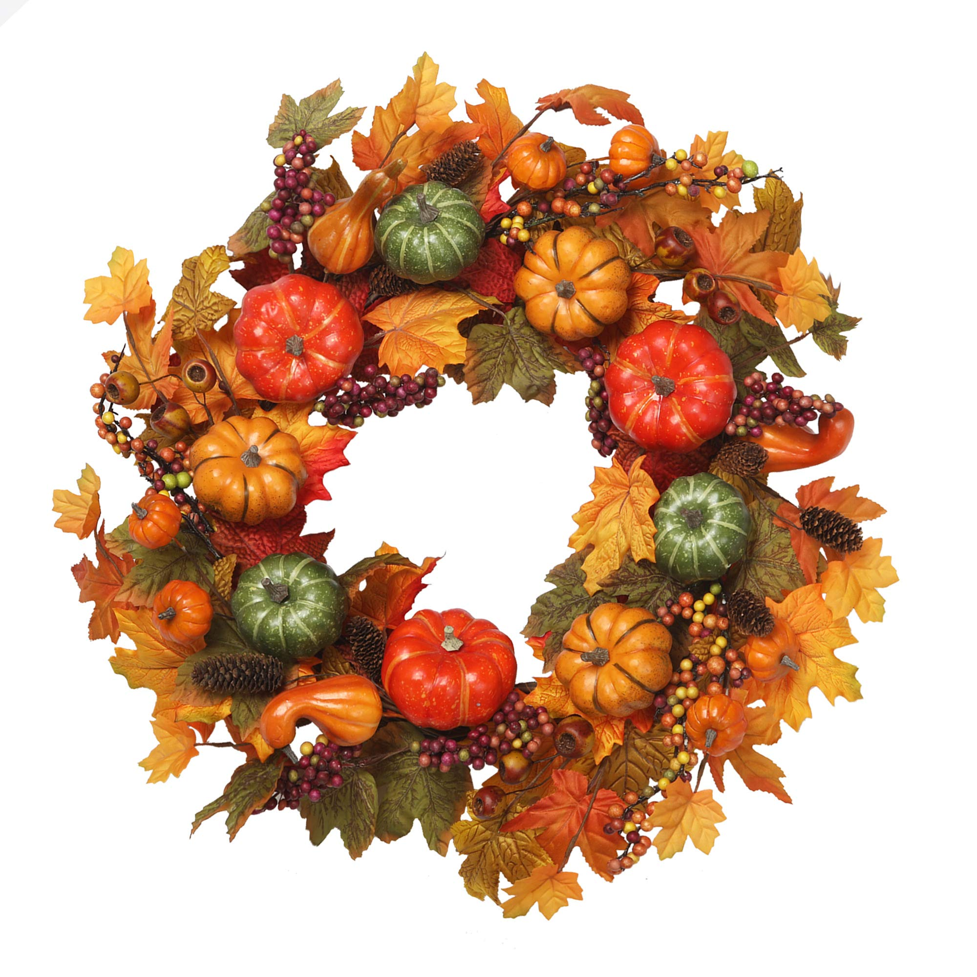 VGIA 22 inch Artificial Fall Wreath Fall Maple Leaves,Pumpkins with Berries for Front Door Fall Harvest Decorations by VGIA