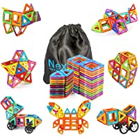 NextX Magnetic Building Blocks Stacking Tiles 3D Educational Building Sets with Car Wheel Toys for Boys and Girls-46psc…