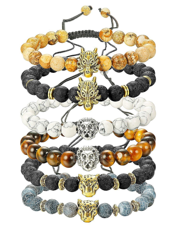 8MM Elasitque BESTEEL 6PCS Bracelet Pierre pour Homme Gar/çon T/ête de Lion L/éopard Dragon Punk Bracelet Boules Pierre Volcanique Oeil de Tigre Cadeau F/ête des P/ères