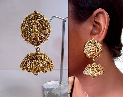 Buy Beautiful Traditional Temple Lakshmi Gold Design Earring