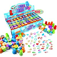 100 Pieces Assorted Stamps for Kids Self-ink Stamps (50 DIFFERENT Designs, Plastic Stamps, Emoji Stampers, Dinosaur…