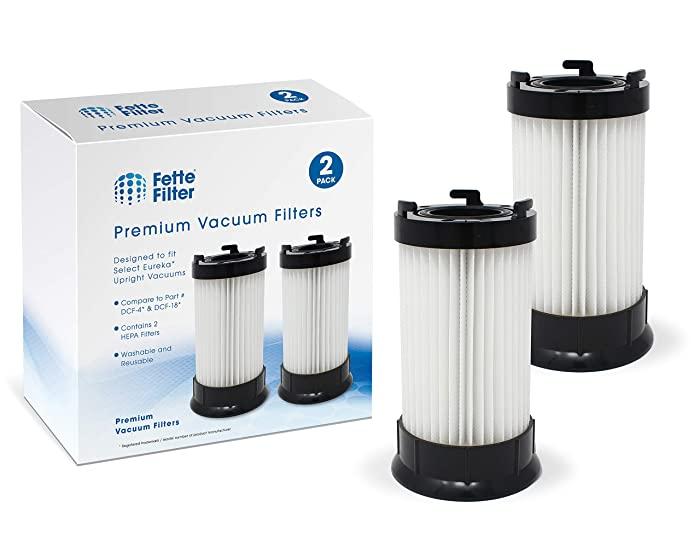Fette Filter - HEPA Filter DCF-4, DCF-18 Compatible for Eureka. Compare to Part # 927 for Model # 62132. (Pack of 2)