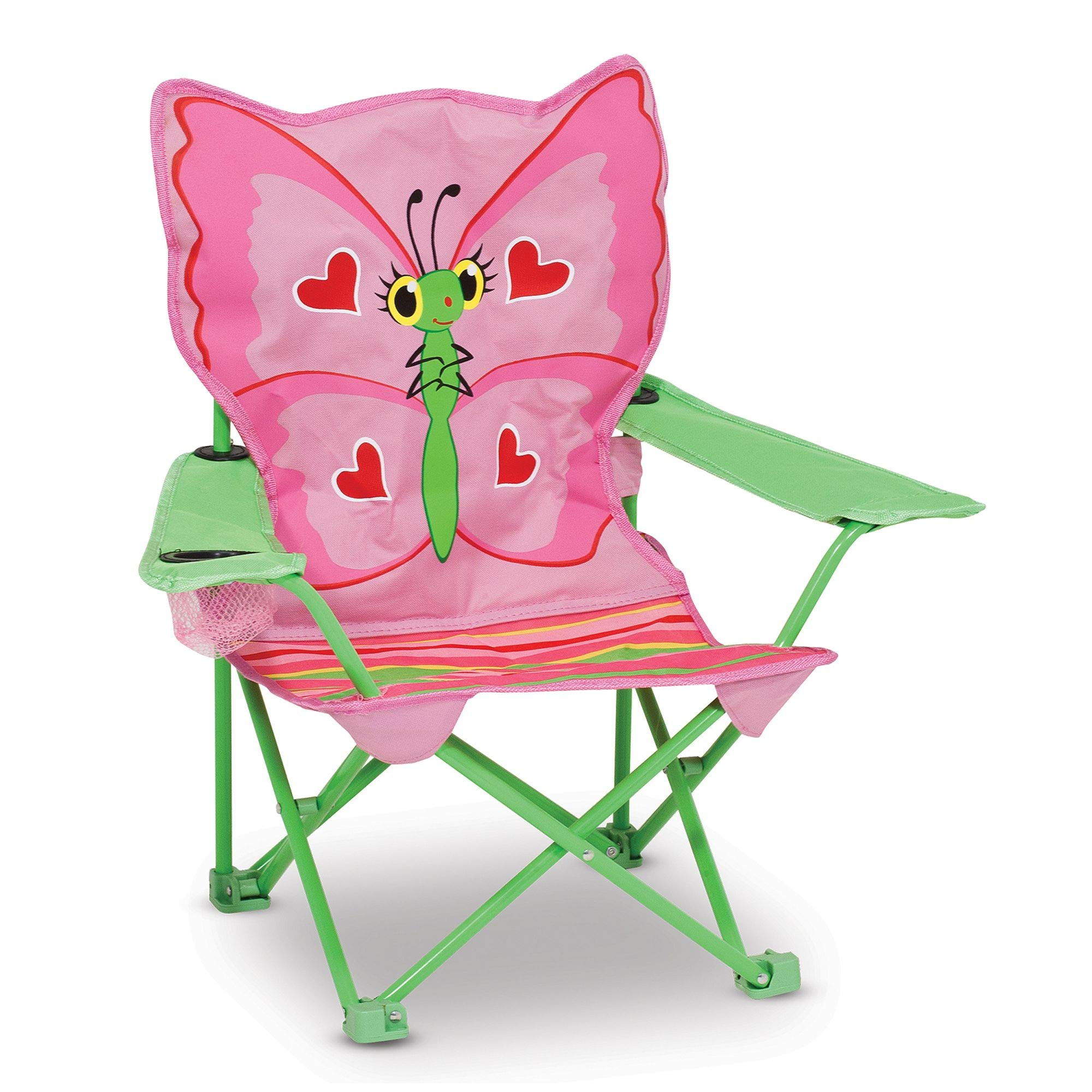 Melissa & Doug Bella Butterfly Child's Outdoor Chair, Easy to Open, Handy Cup Holder, Cleanable Materials, Carrying Bag, 23.7'' H x 6.7'' W x 6.7'' L