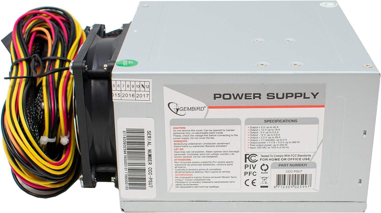 I-CHOOSE LIMITED 550 w Fuente de Alimentación ATX/BTX Ventilador Dual Bajo Ruido con Cable de Alimentación del Reino Unido para Computadora: Amazon.es: Electrónica