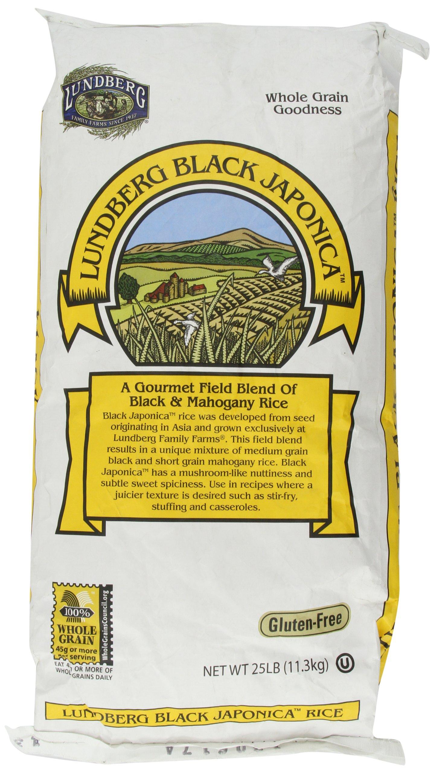 LUNDBERG Black Japonica Whole Grain Rice, 25-Pound
