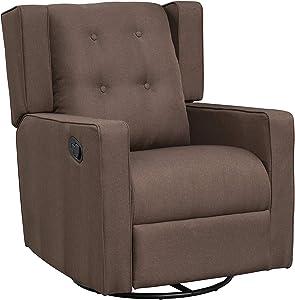 HOMCOM Polyester Linen Fabric Swivel Gliding Recliner Chair, Dark Brown