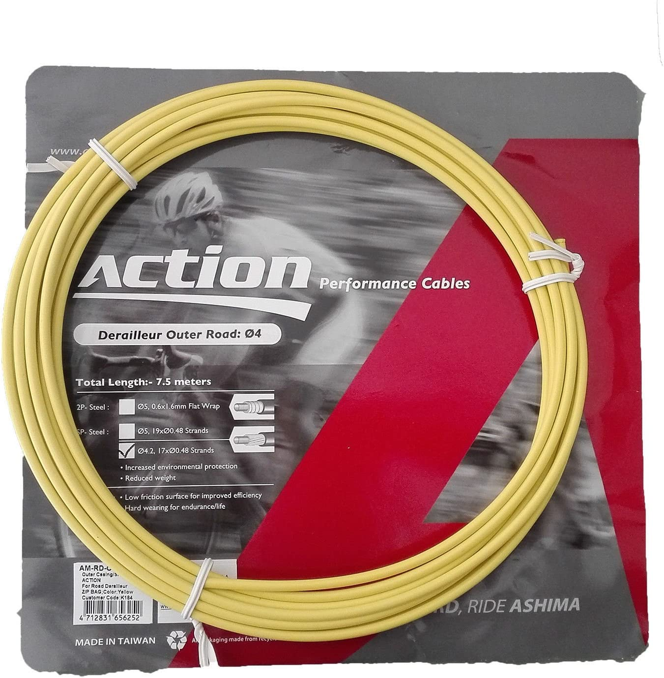 Funda para Cable de Cambio Profesional Color Amarillo 7.5m ASHIMA ...