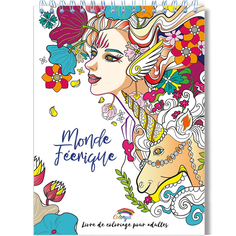 Coloriage Adulte Feerique Anti Stress Le Premier Cahier De Coloriage Pour Adulte A Spirale Et Papier Artiste Par Colorya Amazon Fr Colorya Livres
