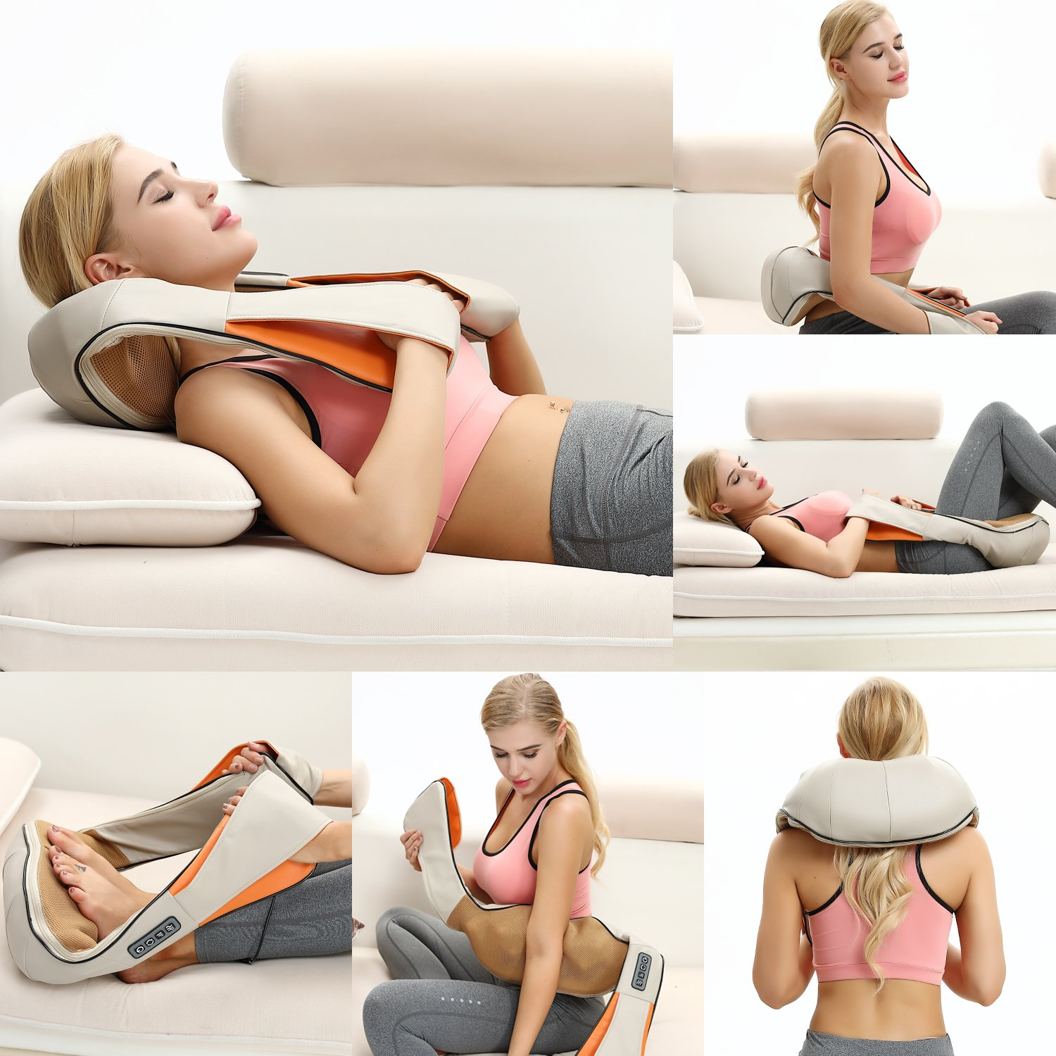 Betorcy Shiatsu Neck Massager - with Heat 4D Kneading, Adjustable Intensity, Relieve Muscle Pain - for Neck, Back, Shoulders, Legs, Foot