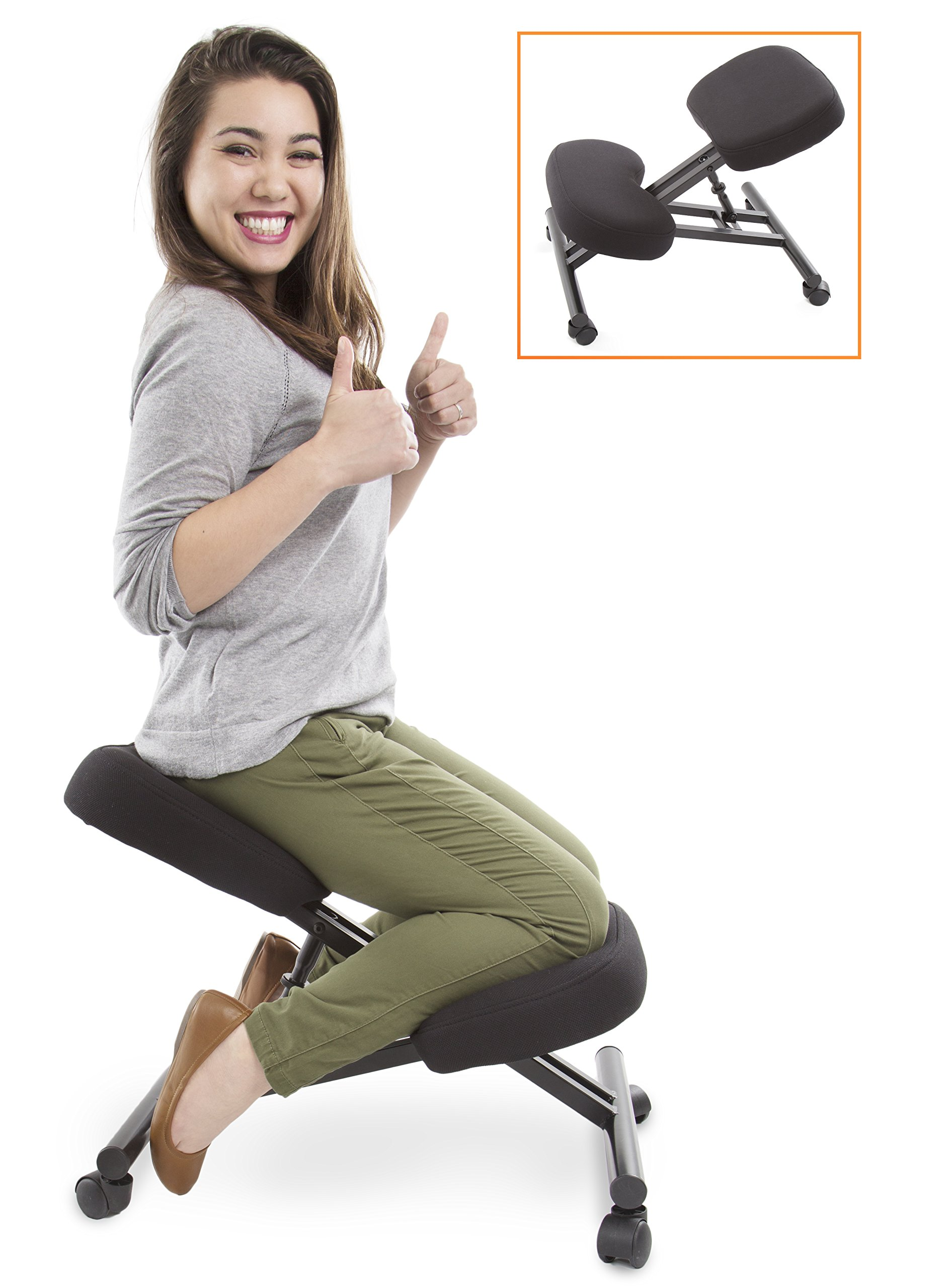 Stand Steady ProErgo Ergonomic Kneeling Chair -Adjustable Height - Office Seating an Edge! Perfect Relieving Back Neck Pain & Improving Posture - Great Fit Home, Office Classroom!