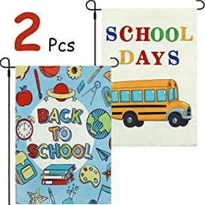 2 Pieces Back to School Garden Flag School Days Flag Double Sided Burlap Lawn Yard Flags for Indoor Outdoor, School Days Party Decoration 12.5 x 18.5 Inch