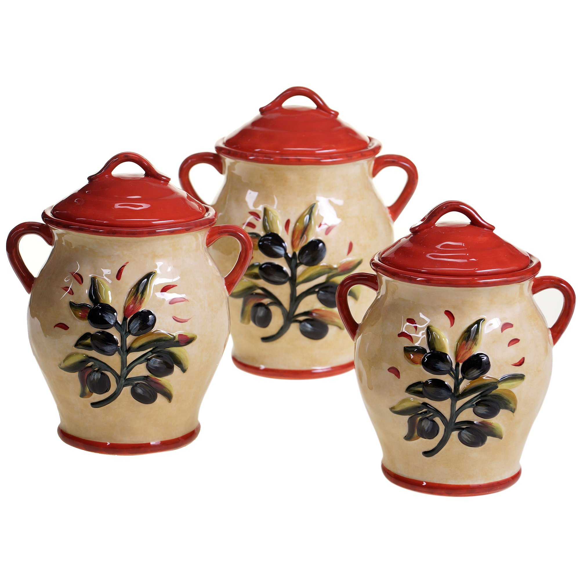 Certified International 3 Piece Umbria Canister Set, Multicolor