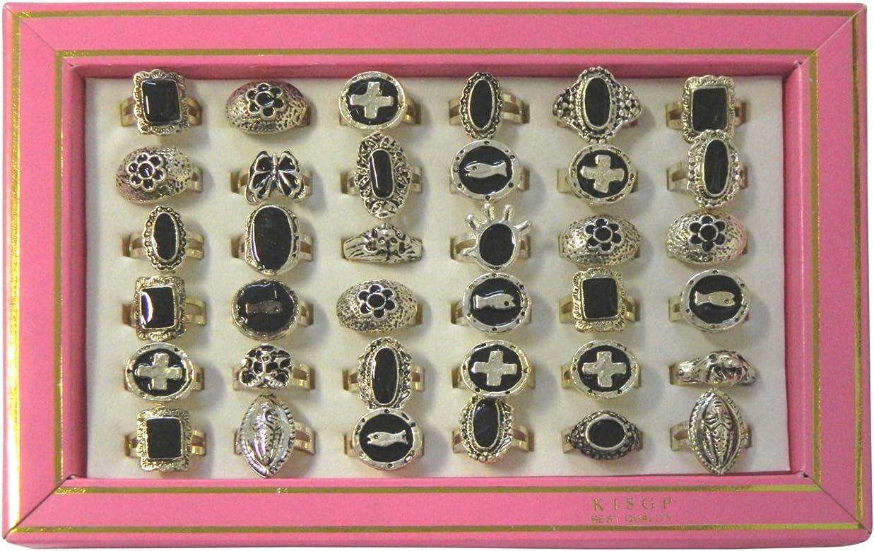 Pack 36 anillos plateados pintados en negro variados joya accesorio: Amazon.es: Joyería