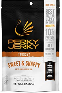 product image for Perky Jerky Sweet and Snappy Turkey Jerky, 5 oz bag - Low Sodium - 10g Protein per Serving - Low Fat - 100% U.S. Sourced - Tender Texture