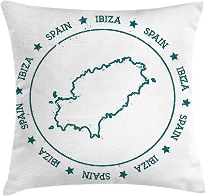 Ibiza Throw Pillow Cushion Cover Outline Of Ibiza Map Inside Grunge Looking Circular Frame Surrounded By Stars Decorative Square Accent Pillow Case 18 X 18 Inches Teal And White Amazon Co Uk Kitchen