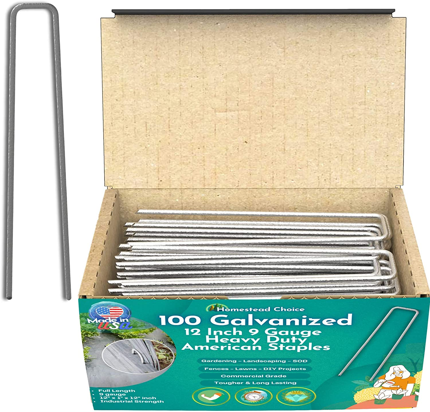 Homestead Choice 100 Count 12 Inch 9-Gauge Galvanized Staples - Made in USA - Garden Landscape Sod Staples - Anti-Rust Pins - Stakes for Weed Barrier Fabric, Ground Cover & Landscaping