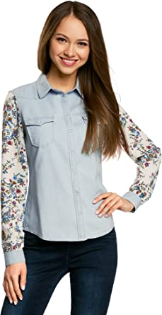 oodji Ultra Mujer Camisa Vaquera Combinada: Amazon.es: Ropa y accesorios