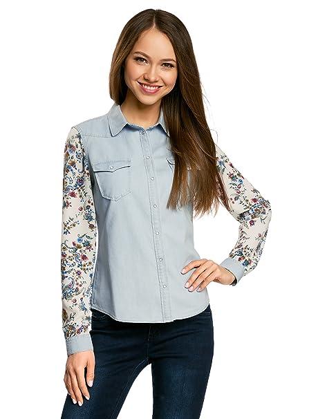 e0de1cd5d oodji Ultra Mujer Camisa Vaquera Combinada: Amazon.es: Ropa y accesorios