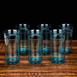 19 -Ounce Acrylic Premium Quality Plastic hammer Tumblers,plastic stemless drinking glasses,Set of 6 Biue, Dishwasher safe (Blue, 19-ounce)