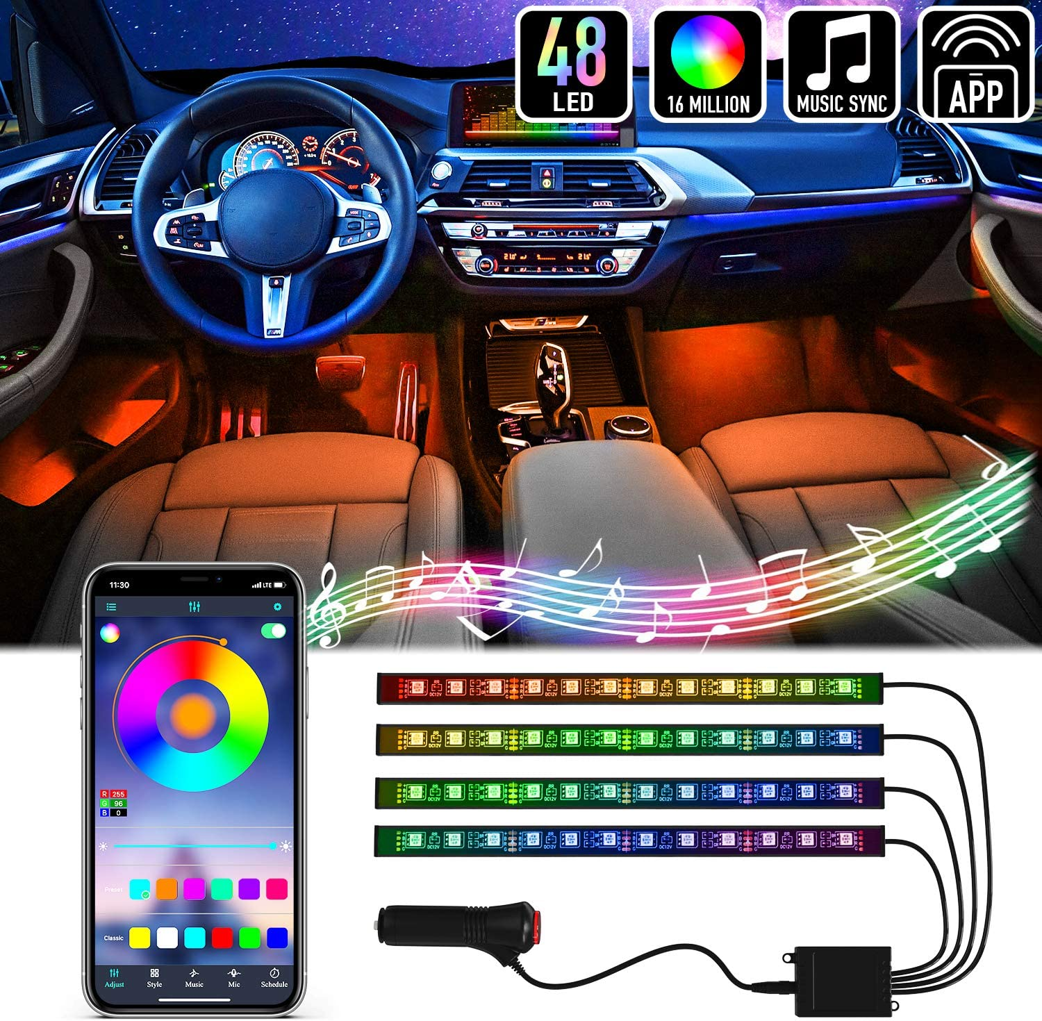 Mega Racer RGB Interior Car Lights - LED Strip Lights for Car, 48 LEDs Over 16 Million Colors, Music Sync App Controlled with iPhone Android Waterproof Under Dash Car Lighting Kit, Car Charger DC 12V