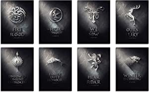 DAJIDALI Wall Art Prints, Game of Thrones Poster Watercolor Pictures Set of 8, Gift for GOT Fans, Modern Home Decor for Living Room, Bedroom, Dorms, Office - 8x12 in, No Frame
