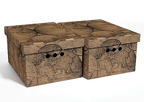 Juego de 2 cajas de almacenamiento decorativas con tapa para hogar ...