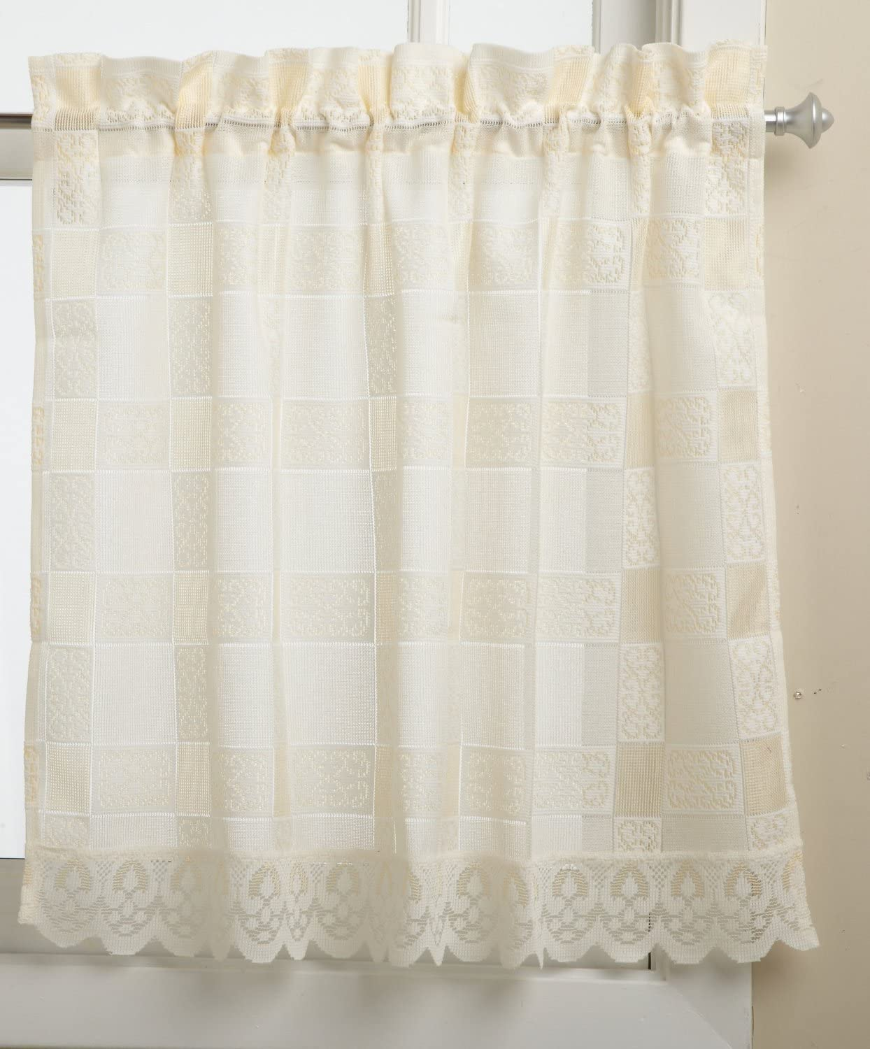 LORRAINE HOME FASHIONS Calais 60-inch x 36-inch Tier Curtain Pair, Ecru
