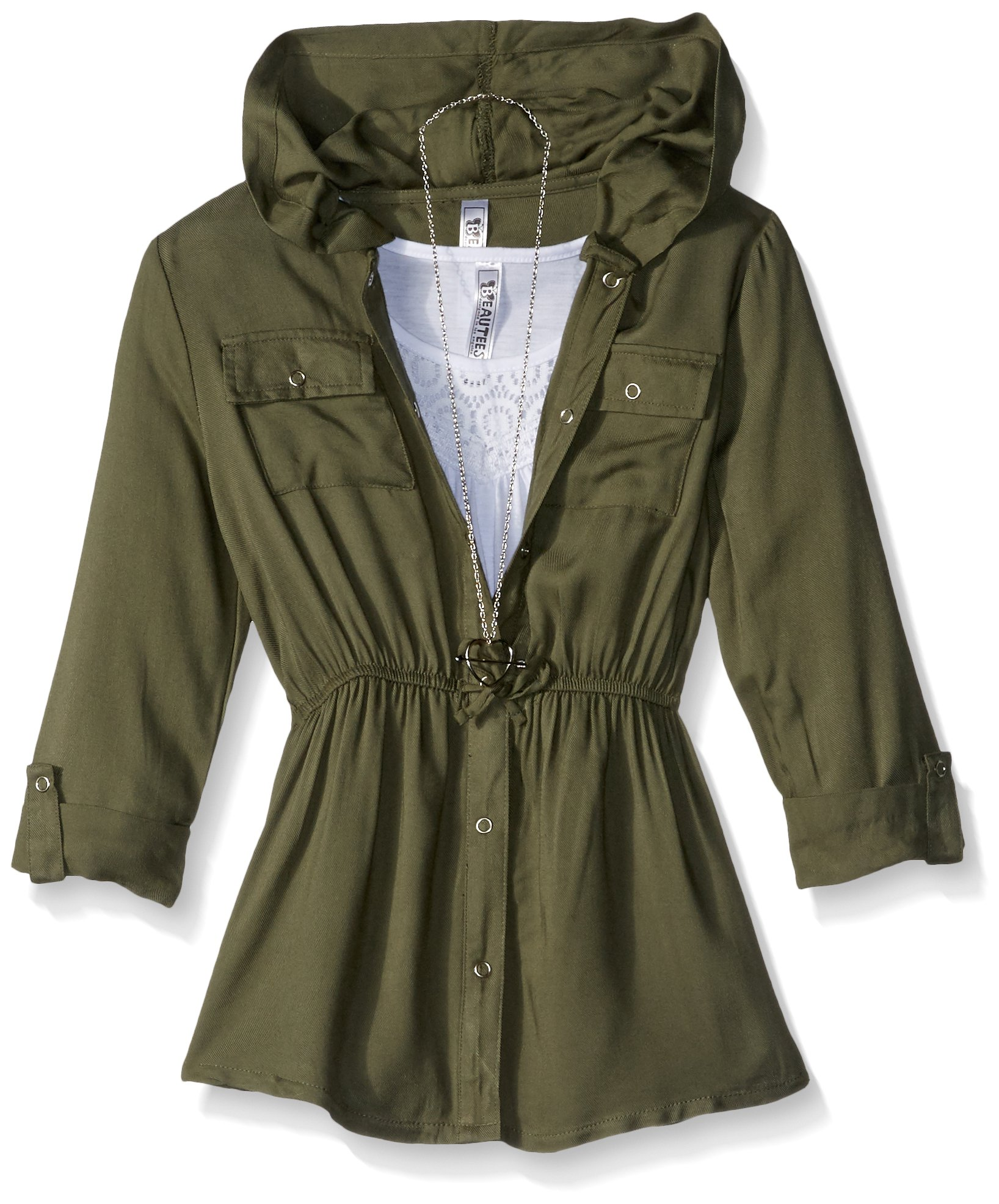 Beautees Big Girls' 2pc. 3/4 Sleeve Jacket Over Solid Tank, Olive, M by Beautees