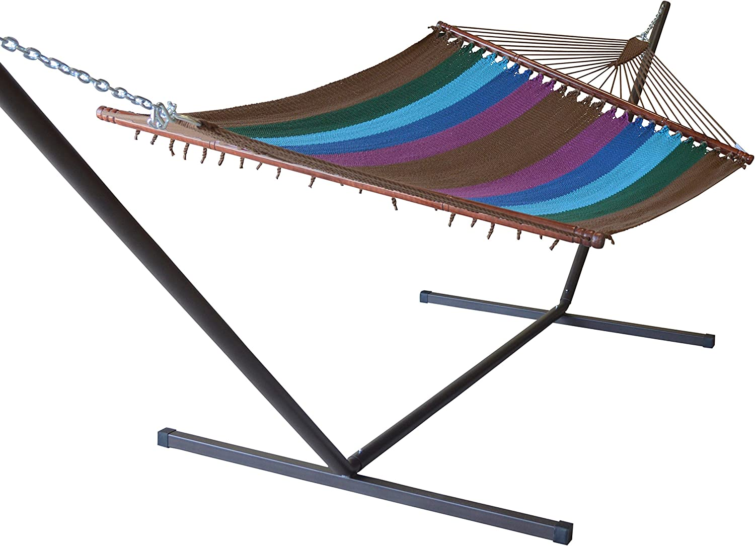 Caribbean Hammocks Jumbo and Metal Tribeam Stand (Multi Color Green)