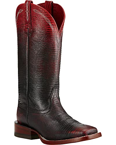 Ariat Womens Ombre Wide Square Toe Performance 7 B Ombre Red Lizard Print