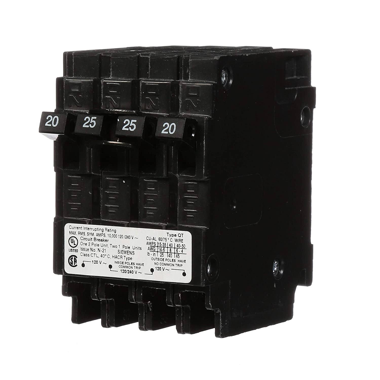 Siemens Q22025CT 25-Amp Double Pole Two 20-Amp Single Pole Circuit Breaker