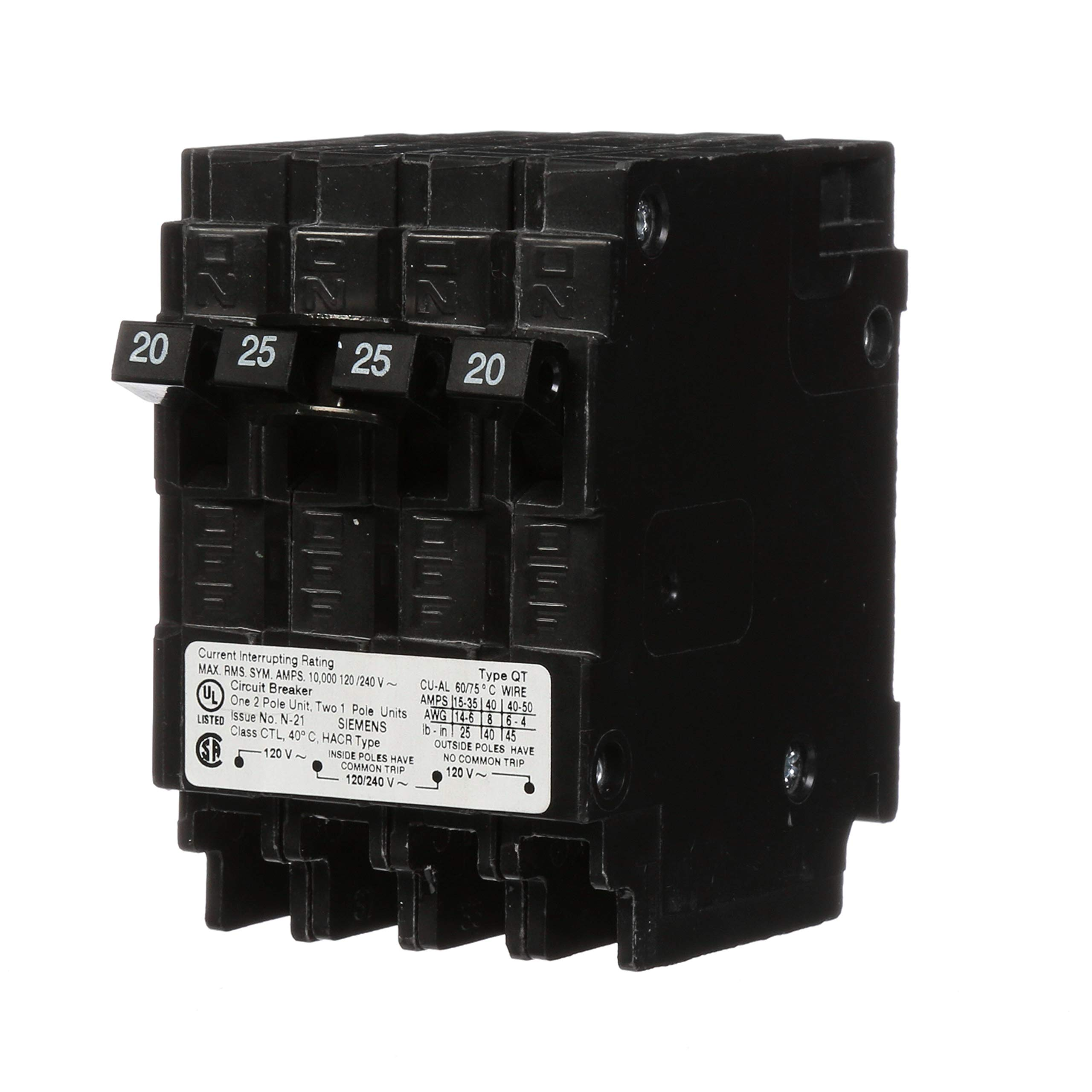 Siemens Q22025CT 25-Amp Double Pole Two 20-Amp Single Pole Circuit Breaker
