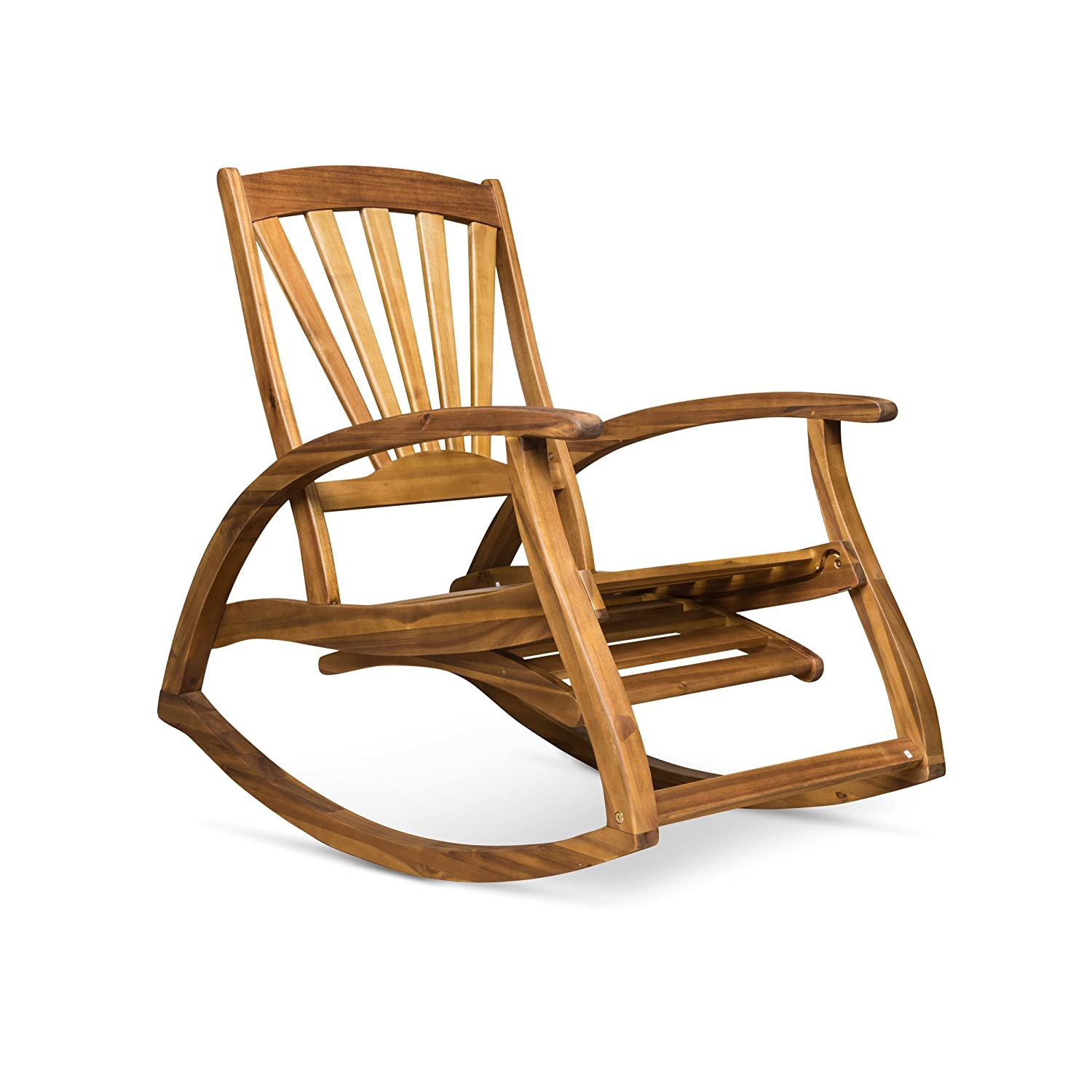 Great Deal Furniture Alva Outdoor Acacia Wood Rocking Chair with Footrest Teak Finish