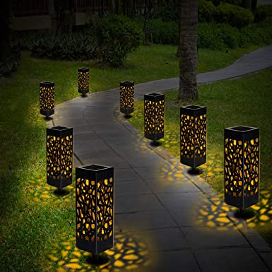 Lámpara solar para jardín, 8 luces LED solares para jardín, lámpara de exterior, resistente al agua IP44, efecto de luz, luz decorativa para terraza, ...