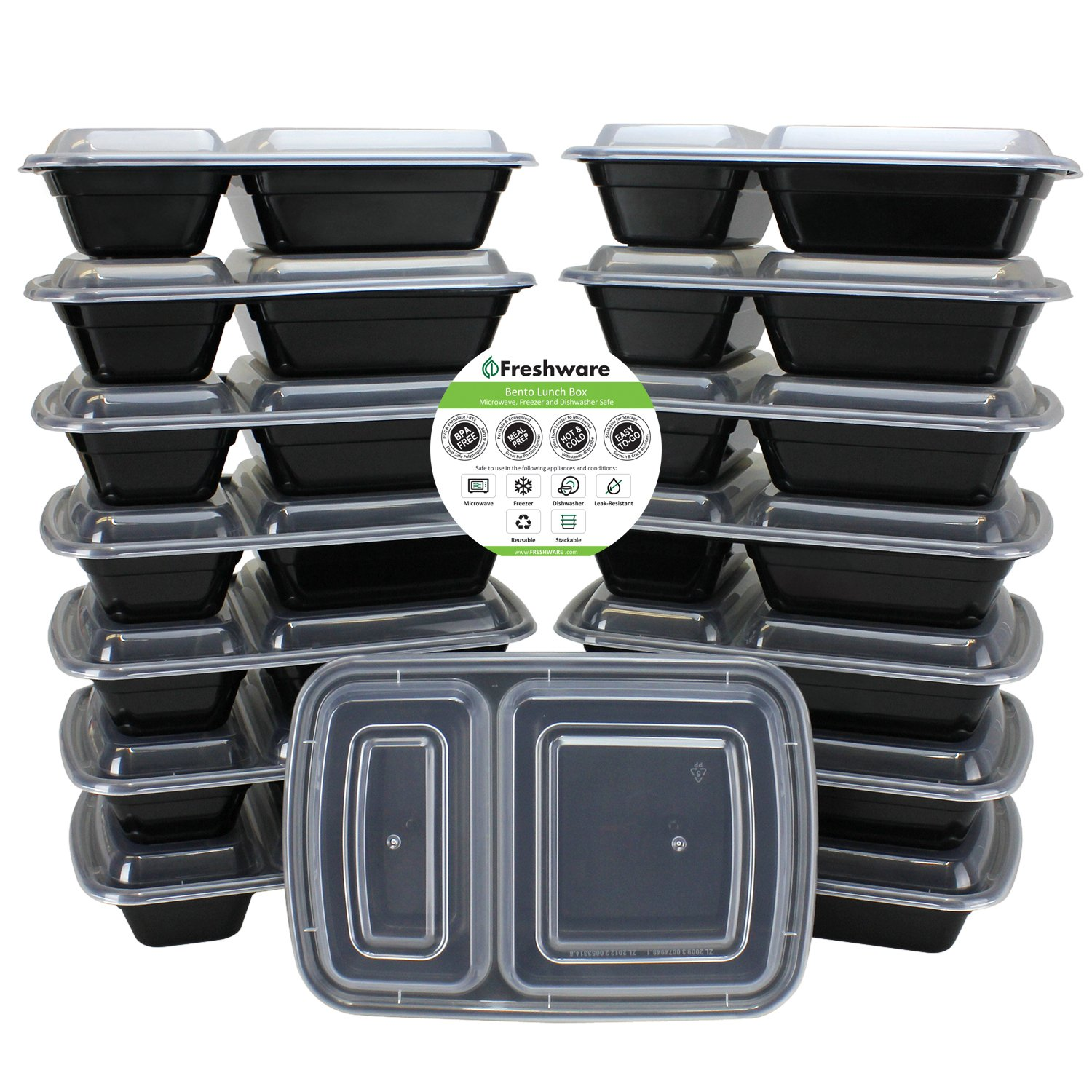 Freshware Meal Prep Containers [15 Pack] 2 Compartment with Lids, Food Containers, Lunch Box | BPA Free | Stackable | Bento Box, Microwave/Dishwasher/Freezer Safe, Portion Control, 15 day fix (25 oz) by Freshware (Image #1)