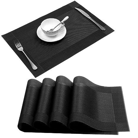 conjunto de 4 manteles individuales de vinilo antideslizante resistente al calor para la mesa de comedor